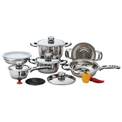 KT12 - Chef's Secret® 12pc 9-Ply Waterless Heavy-Gauge Stainless Steel Cook