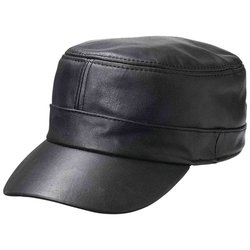 GFCAP3   Casual Outfitters™ Solid Genuine Lambskin Leather Cap