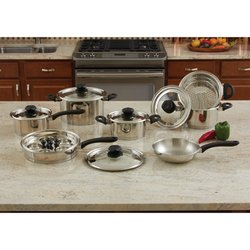 KT18SC  Maxam® 18pc Stainless Steel Cookware Set with Steam Control™ K