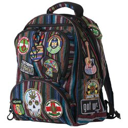 LUBPHIP2 - Highway 420™ 17'' HIPPIE BACKPACK WITH 15 EMBROIDERED PATCHES