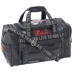 LULLTR - Diamond Plate™ Rock Design Genuine Leather LIVE TO RIDE Tote Bag
