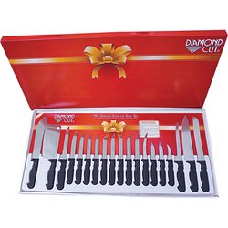 CTDC19 - Diamond Cut® 19pc Cutlery Set in White/Red Bow Box