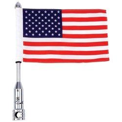 BKFLAGPL - Diamond Plate™ Motorcycle Flagpole Mount and USA Flag