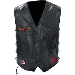 GFVBIKE - Diamond Plate™ Rock Design Genuine Buffalo Leather Biker Vest