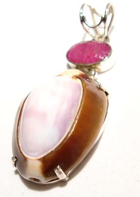 Ruby Pendant Sea Shell Sterling Silver Gem