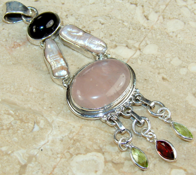 Rose quartz onyx peridot garnet pearl pendant sterling silver :  necklace jewellery natural pearl blister pearl