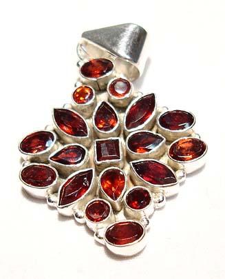 Garnet Gemstone Cluster Sterling Silver Pendent