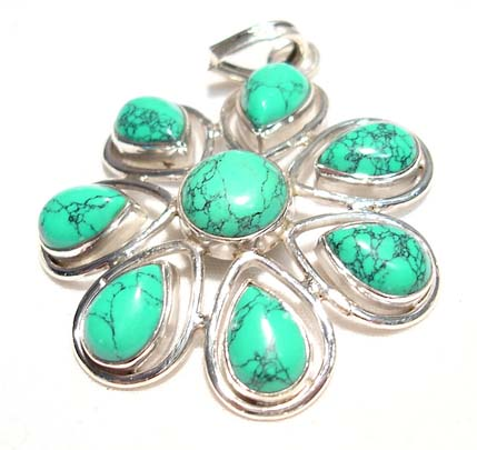 Turquoise Sterling Silver Flower Pendent :  gemstone floral pendant genuine turquoise classic treasures