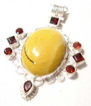 Garnet Yellow Jasper Sterling Silver Pendent :  sterling silver yellow jasper classic treasures pendant