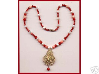Coral Pearls Necklace 14 K Yellow Gold