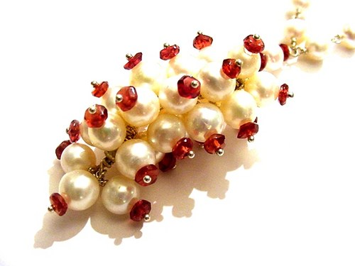 Garnet and Pearl Designer Necklace Sterling Silver