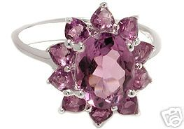 AMETHYST FLOWER RING 7 GENUINE 3.50 CT GEMSTONE SILVER :  gemstone jewelry jewelry jewellery classictreasur