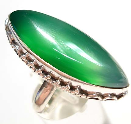 GREEN ONYX RING STERLING SILVER 9 1/4 :  sterling silver jewelry jewellery green gem
