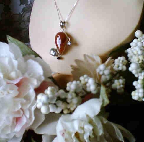Carnelian Agate BIWA Pearl Garnet Pendant Silver :  gemstone classic treasures pendant pendants