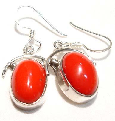 Coral Earrings Sterling Silver Dangle Pierced Ears