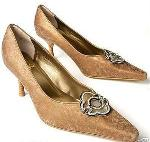 Victoria Wieck Ladies 10 Wide Gold Pumps New in Box :  formal classy heels evening