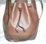 TRUSSARDI ITALY LARGE LEATHER BUCKET SHOULDER BAG