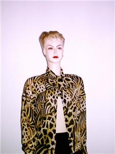 Escada 100% Silk Blouse shirt top new EU 34 USA 6 :  woman cheetah misses women