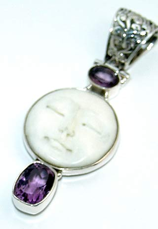 Carved Bone Moon Face Large Amethyst Gemstones Pendant