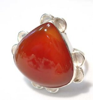 CARNELIAN AGATE RING Sterling Silver SIZE 9 3/4