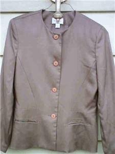 HENRI BENDEL SIZE 8 100% SILK BLAZER JACKET NWOT :  jacket classictreasures classic treasues dark taupe