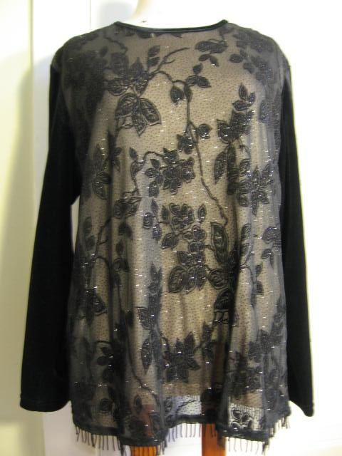 Apparel Misses - Blouse Shirt Top Misses - Notations black blouse top shirt evening XL new