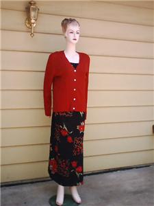 Black red tulips dress red cardigan XL :  extra large red cardigan black fress cardigan jacket