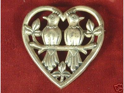 Vintage Sterling Silver Brooch Love Birds :  pin classic treasures vintage 925