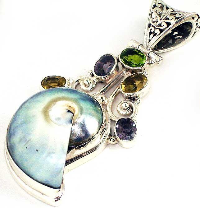 Shell Citrine Amethyst Peridot Gems Sterling Silver Pendant :  gemstone seas shell classic treasures pendant