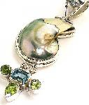 Shell Topaz Pendant Peridot Sterling Silver :  gemstone jewellery ocean shell classic treasures
