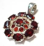 Garnet flower pendant sterling silver :  gemstones pemdant jewellery sterling