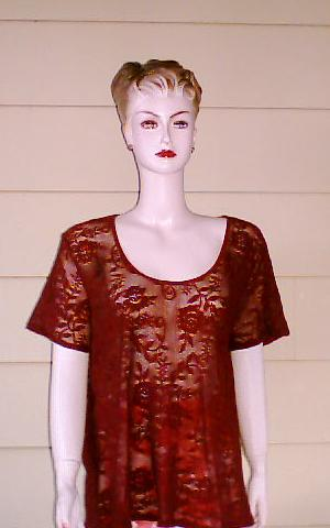 Beautiful Burgundy Color Lace Big Shirt Size 1X