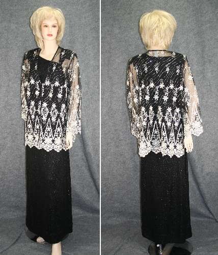 Black and White Lace Tunic Evening Blouse Size 2X :  formal clothing white sheer