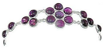 Amethyst Flower Bracelet Gemstone Jewelry Sterling Silver