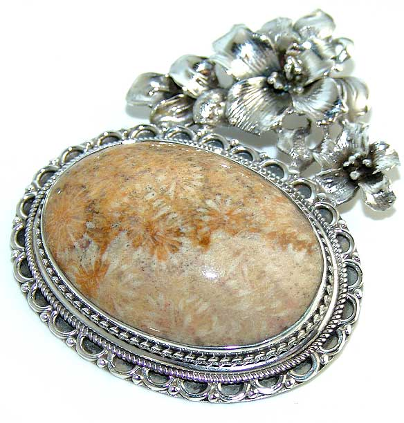Fossil Coral Large Pendant Sterling Silver Beautiful :  gemstone jewelry jewelry jewellery fossil coral