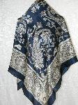 Silk Scarf Hand Rolled Navy Blue Classic Treasures NWT