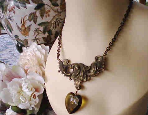 Renaissance Necklace Medieval Smokey Glass Heart Pendant