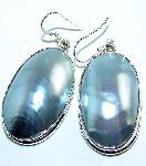 Shell Pearl Huge Mabe Earrings Blue Silver