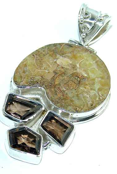 Ammonite fossil pendant smoky topaz sterling silver gemstone jewelry :  gemstones jewellery classic treasures ancient