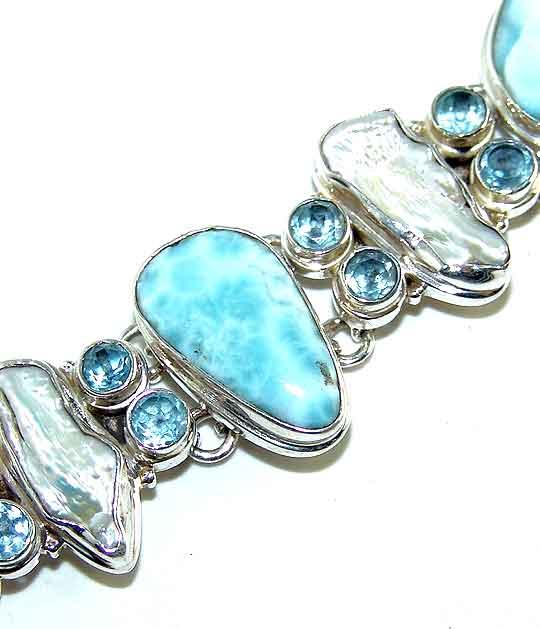 Larimar BIWA Pearl Topaz 925 Sterling Silver Bracelet