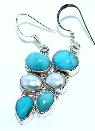 EARRINGS - Gemstone Earrings - Larimar Biwa Pearl Sterling Silver Earrings :  gemstone pearl biwa sterling