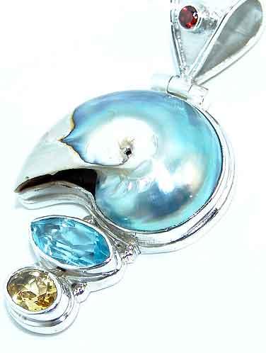 Shell topaz pendant citrine sterling silver