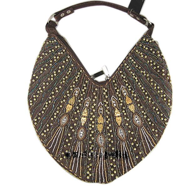 Bohemian Boho Hobo Purse Brown Beaded Handbag