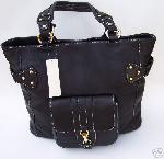 Kate Landry Black Leather Bag Purse NWT