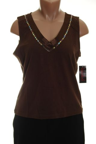 Rafaella Brown Shirt Tank Top S Petite new Sequins :  blouse tank petite apparel new with tag
