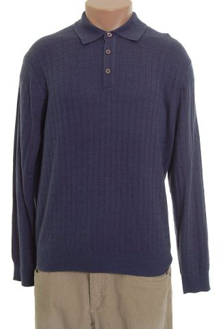 Tasso Elba Mens Sweater Blue Cashmere Silk XL NWT FLAW