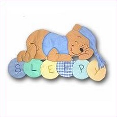 Image 1 of Sleepy Hunny Bear Personalized Kids Fabric Art Designs Decor Growth Charts