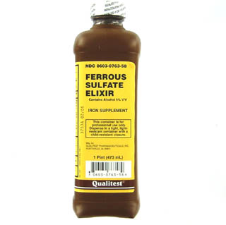Ferrous Sulfate 220 mg/5ml Iron Supplement Elixir 16 oz