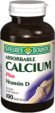 Natures Bounty Absorbable Calcium Plus Vitamin D Softgels 100