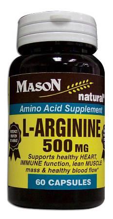 Image 0 of L-Arginine 500 mg Amino Acid Supplement Capsules 60